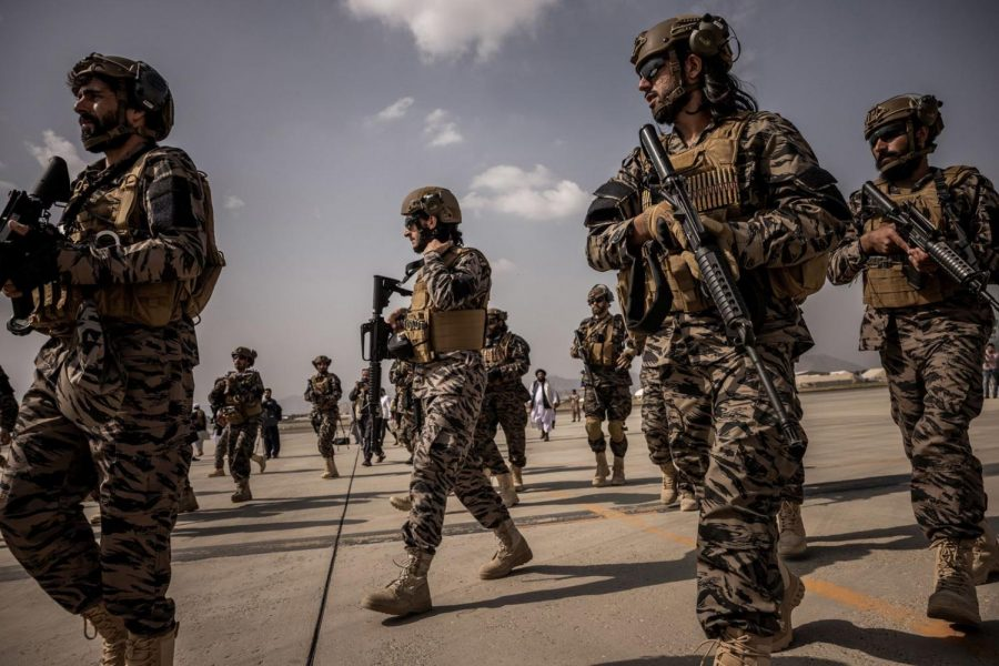 The Taliban fighters at the Kabul airport on August 31, 2021